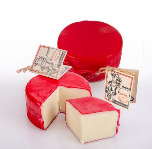 Handmade cow cheese in paraffin vax